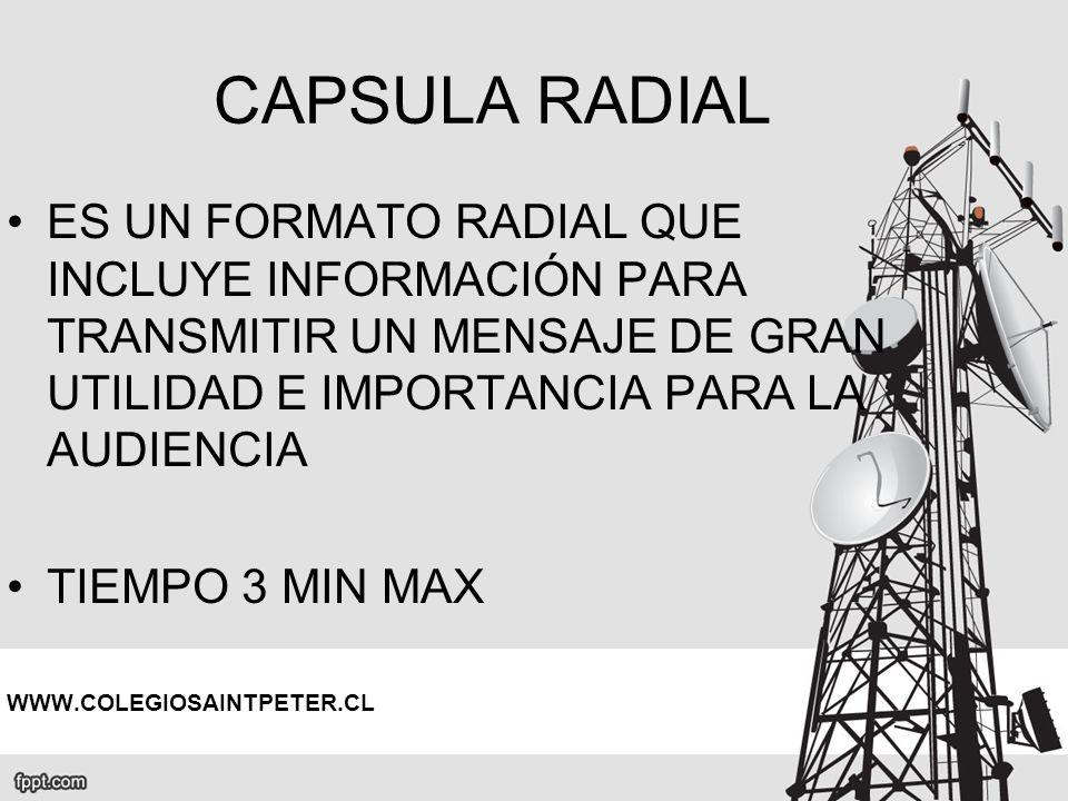 CAPSULA RADIAL ES UN FORMATO RADIAL QUE INCLUYE INFORMACIÓN PARA TRANSMITIR UN MENSAJE DE GRAN UTILIDAD E IMPORTANCIA PARA LA AUDIENCIA.