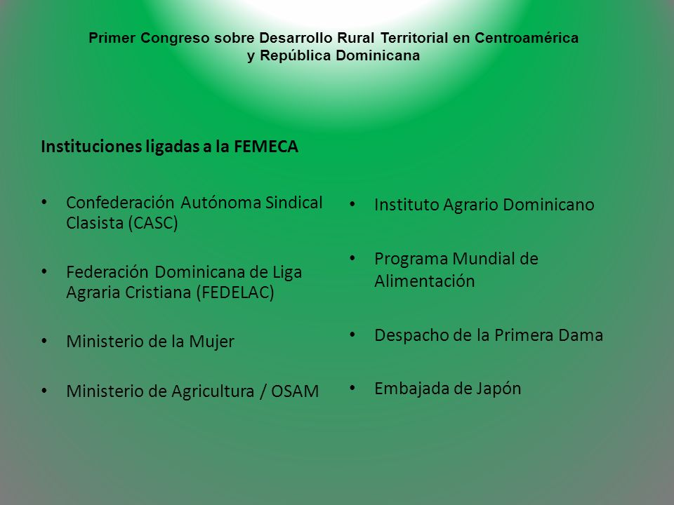 Instituciones ligadas a la FEMECA