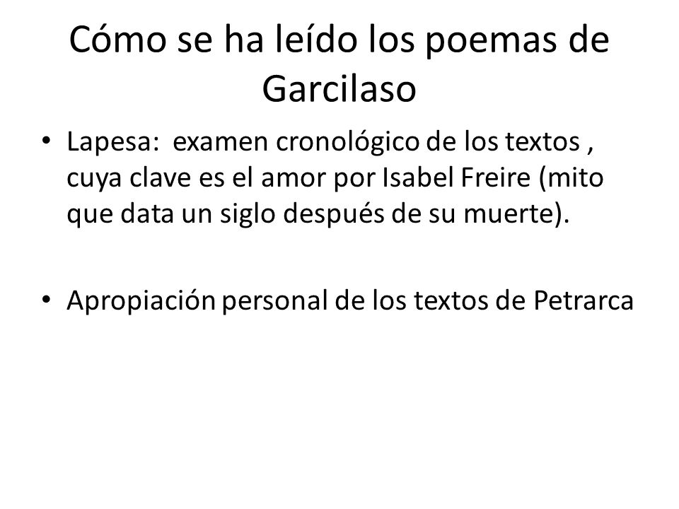 Cómo se ha leído los poemas de Garcilaso