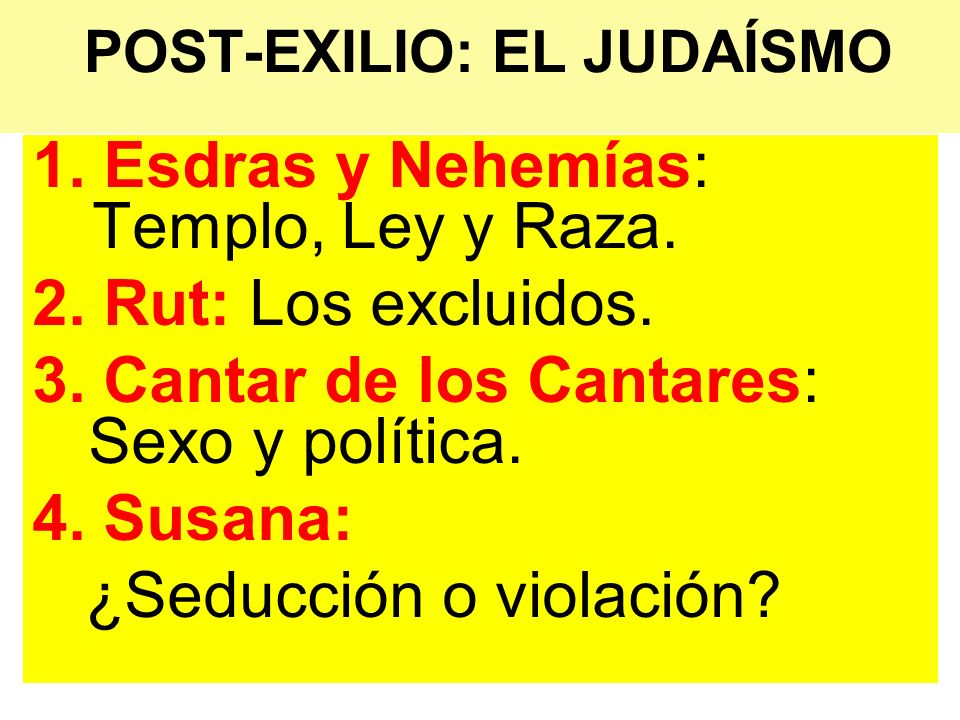 POST-EXILIO: EL JUDAÍSMO