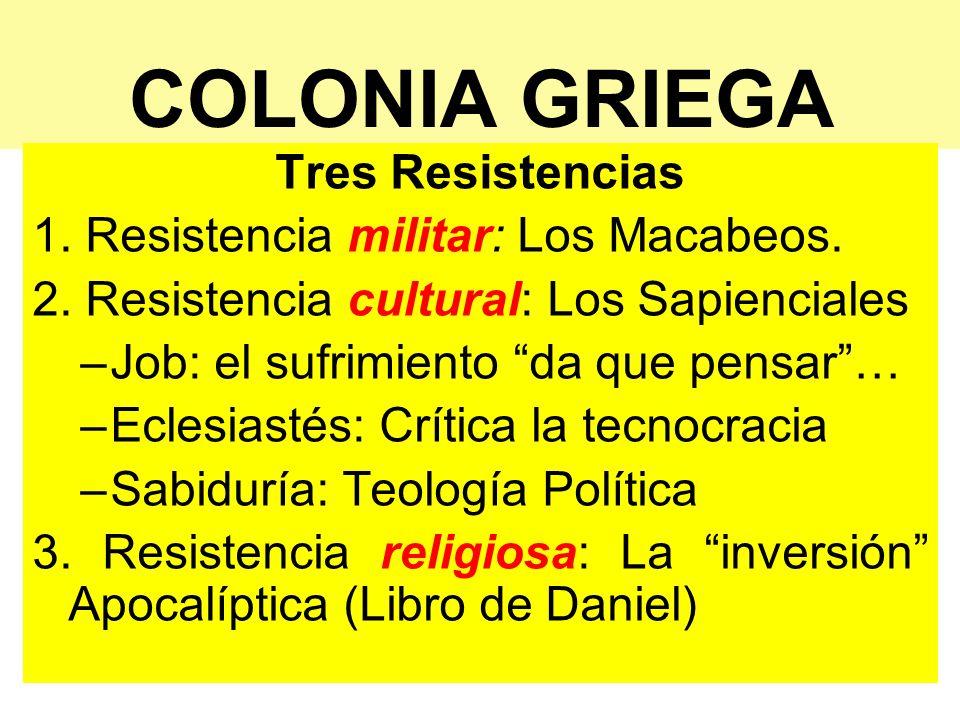 COLONIA GRIEGA Tres Resistencias 1. Resistencia militar: Los Macabeos.