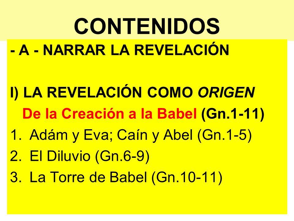CONTENIDOS - A - NARRAR LA REVELACIÓN I) LA REVELACIÓN COMO ORIGEN