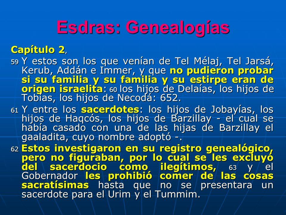 Esdras: Genealogías Capítulo 2,
