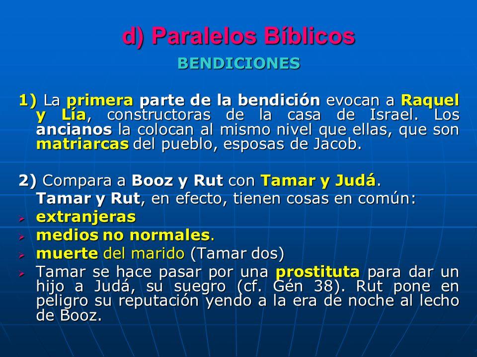 d) Paralelos Bíblicos BENDICIONES