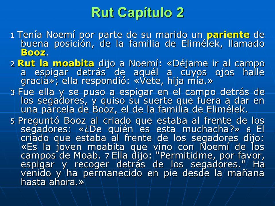 Rut Capítulo 2 1 Tenía Noemí por parte de su marido un pariente de buena posición, de la familia de Elimélek, llamado Booz.