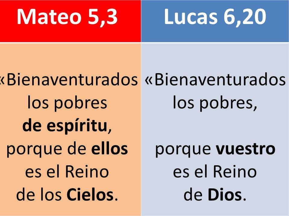 Mateo 5,3 Lucas 6,20 «Bienaventurados los pobres