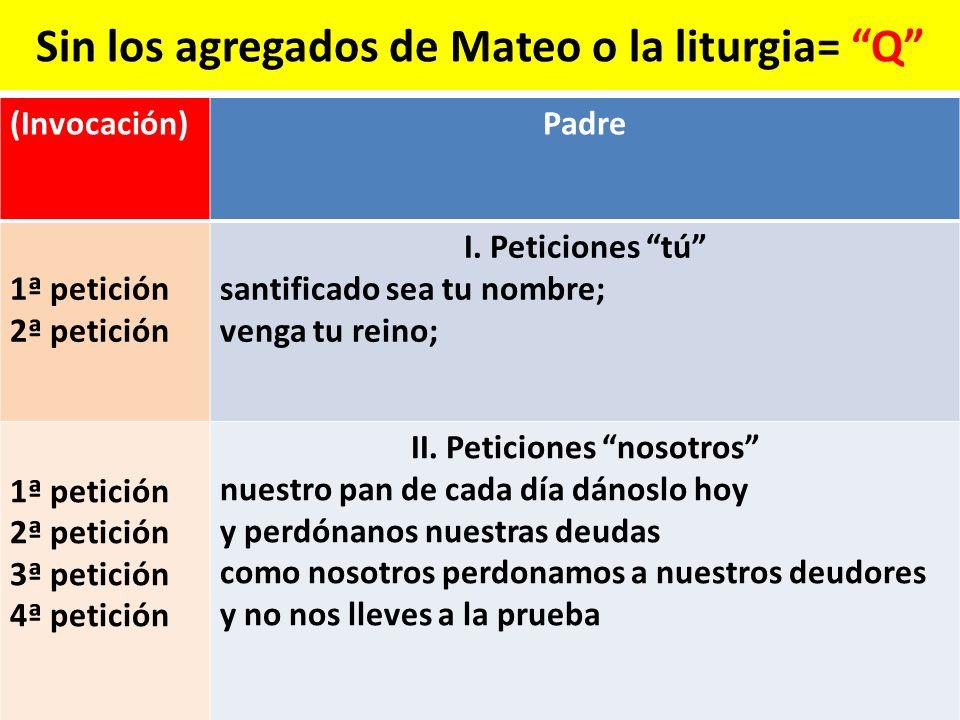Sin los agregados de Mateo o la liturgia= Q