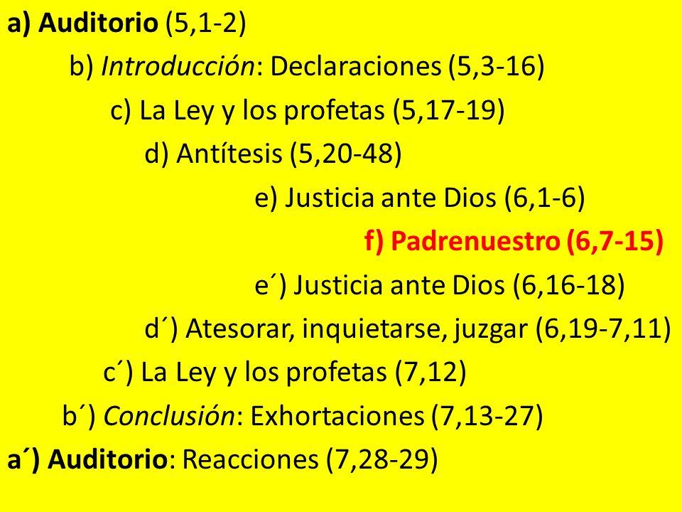 a) Auditorio (5,1-2) b) Introducción: Declaraciones (5,3-16) c) La Ley y los profetas (5,17-19) d) Antítesis (5,20-48)