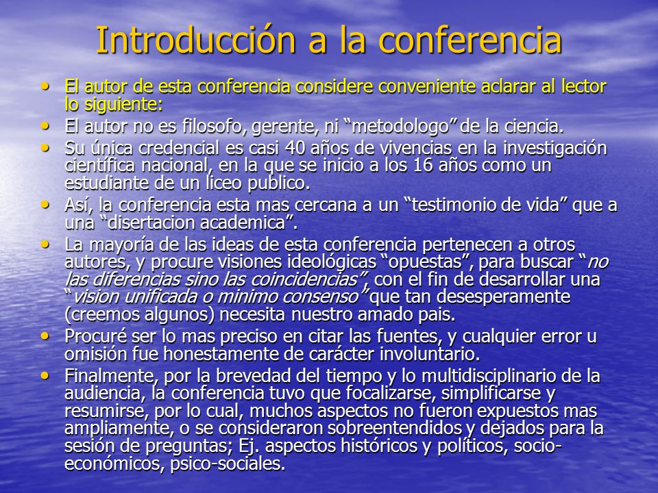 Introducción a la conferencia