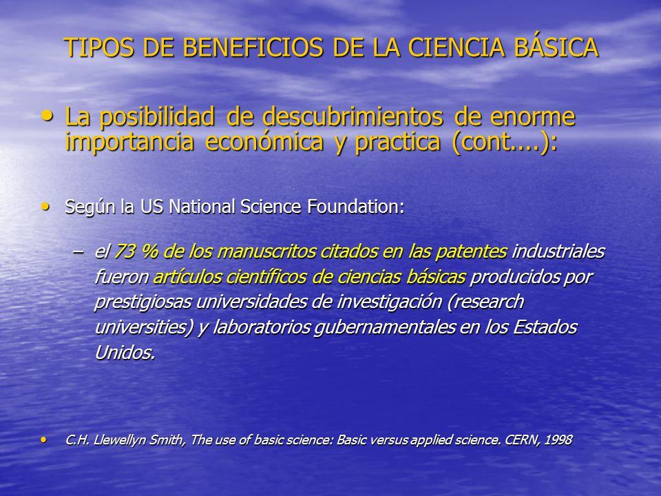 TIPOS DE BENEFICIOS DE LA CIENCIA BÁSICA