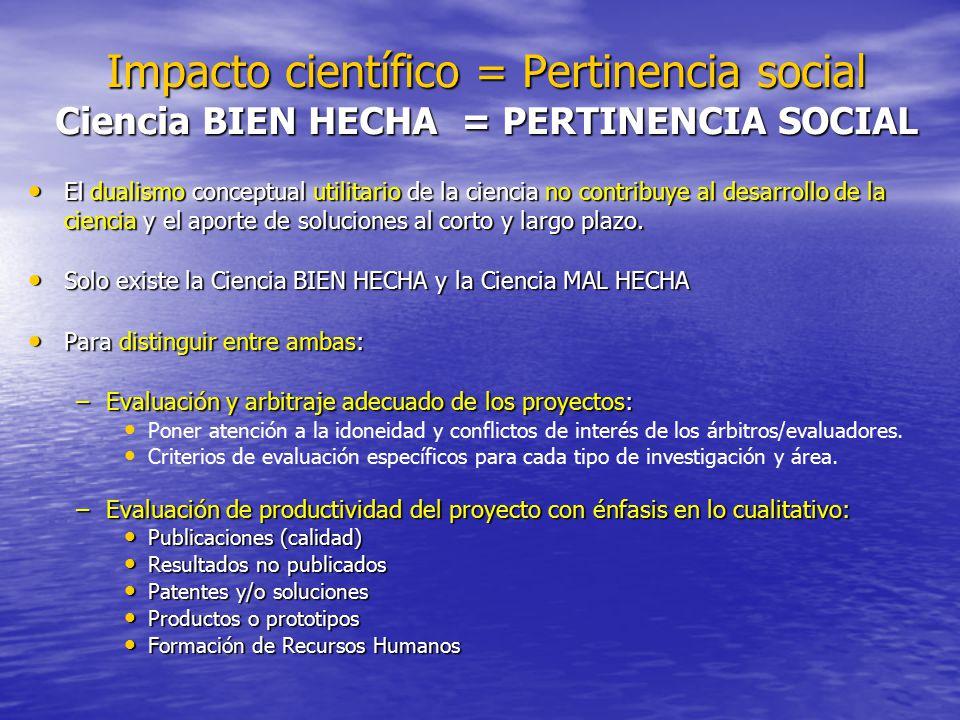 Impacto científico = Pertinencia social Ciencia BIEN HECHA = PERTINENCIA SOCIAL