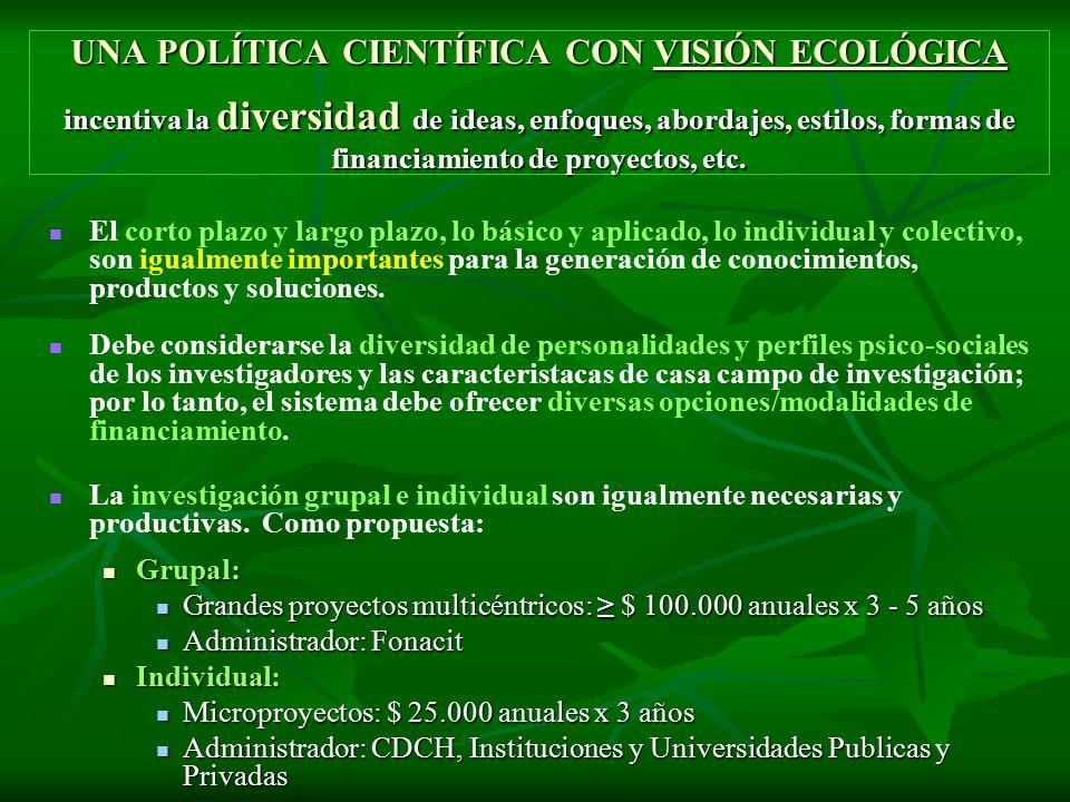 UNA POLÍTICA CIENTÍFICA CON VISIÓN ECOLÓGICA incentiva la diversidad de ideas, enfoques, abordajes, estilos, formas de financiamiento de proyectos, etc.