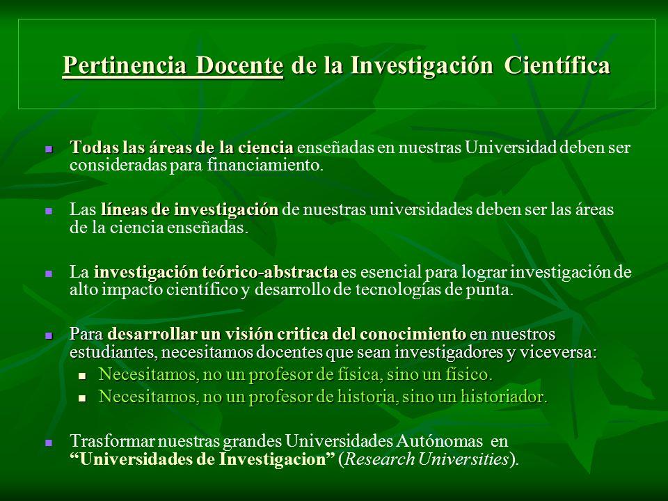 Pertinencia Docente de la Investigación Científica