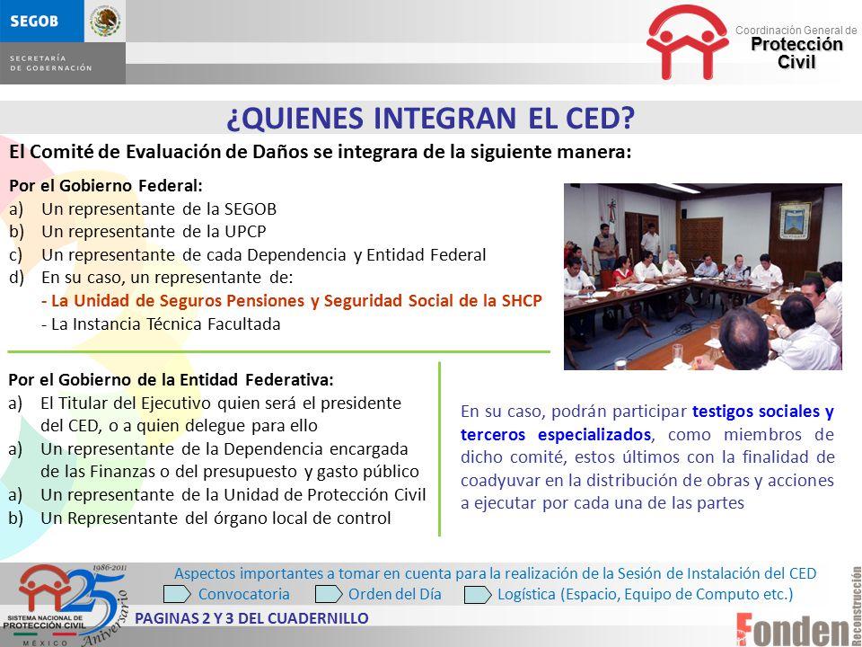¿QUIENES INTEGRAN EL CED PAGINAS 2 Y 3 DEL CUADERNILLO