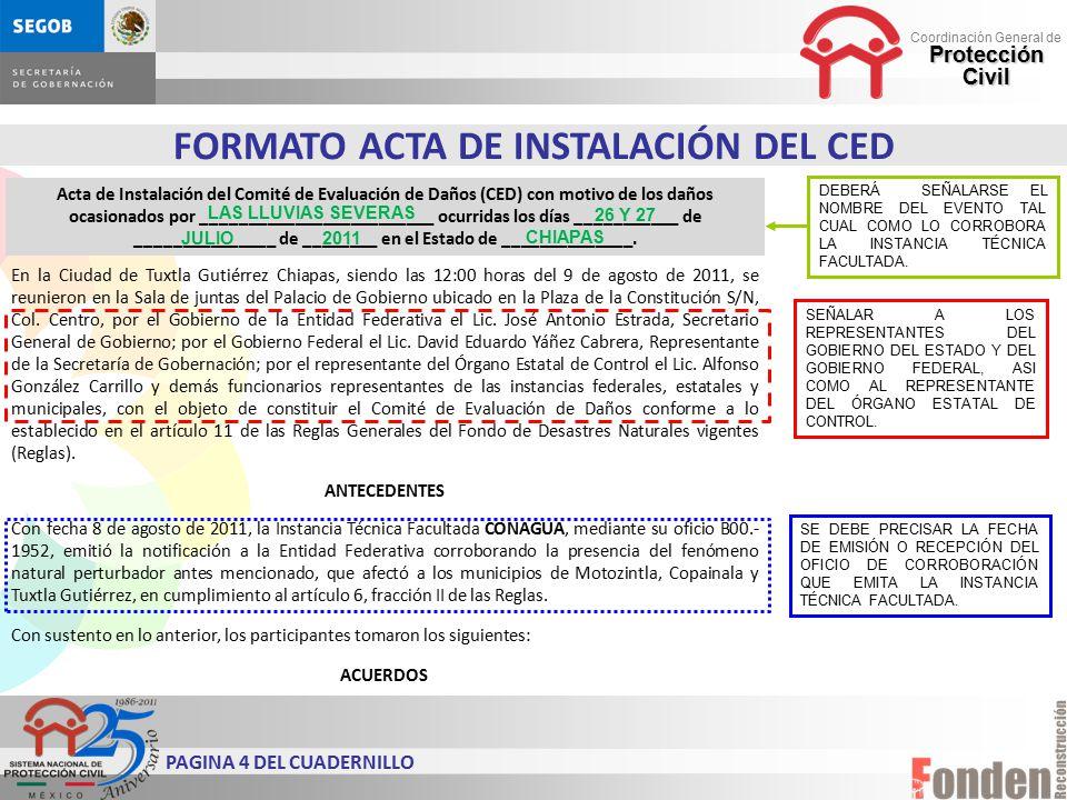 FORMATO ACTA DE INSTALACIÓN DEL CED PAGINA 4 DEL CUADERNILLO