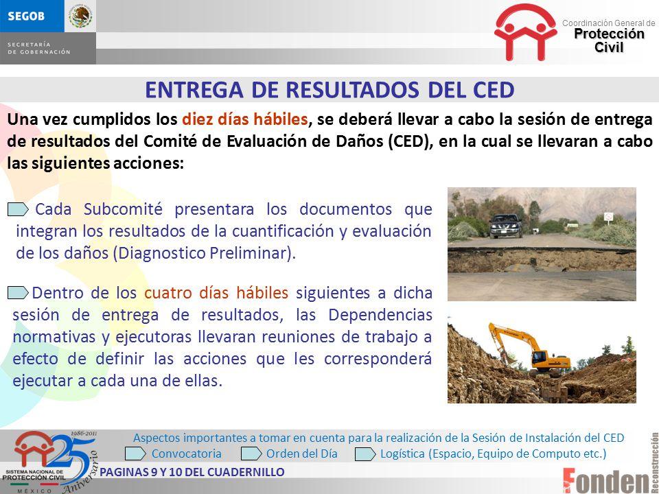 ENTREGA DE RESULTADOS DEL CED PAGINAS 9 Y 10 DEL CUADERNILLO