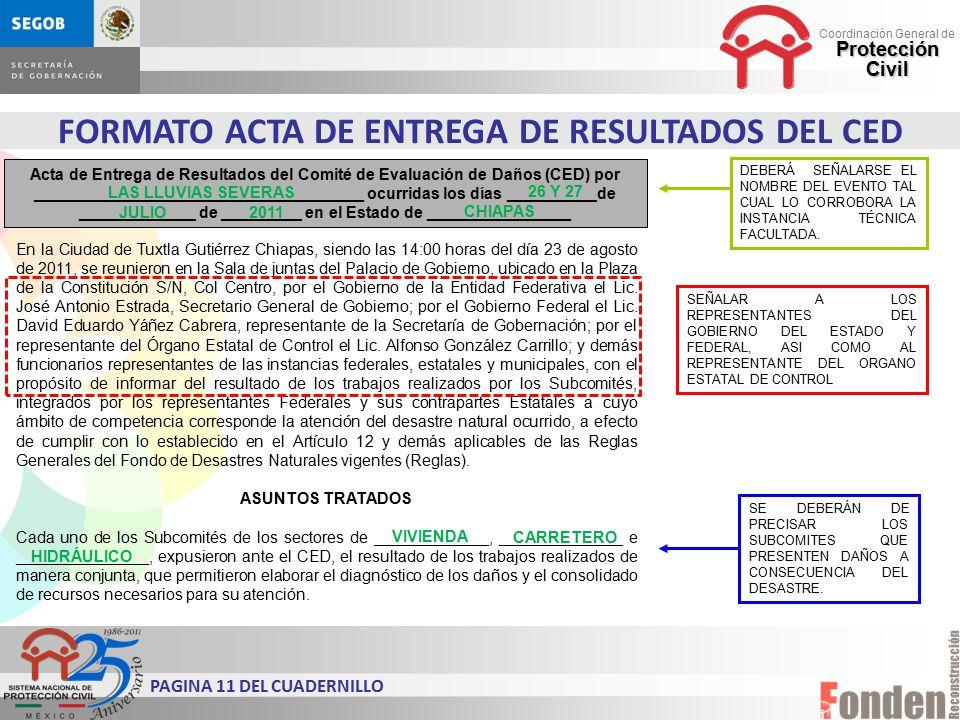 FORMATO ACTA DE ENTREGA DE RESULTADOS DEL CED