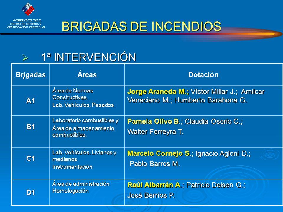 BRIGADAS DE INCENDIOS . 1ª INTERVENCIÓN Brigadas Áreas Dotación A1