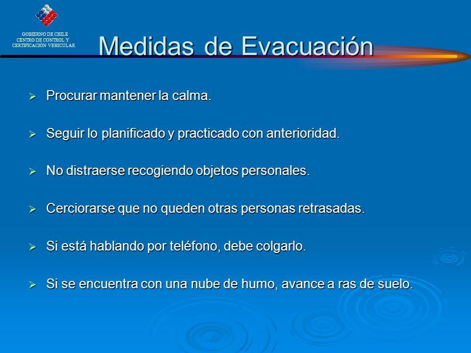 Medidas de Evacuación Procurar mantener la calma.