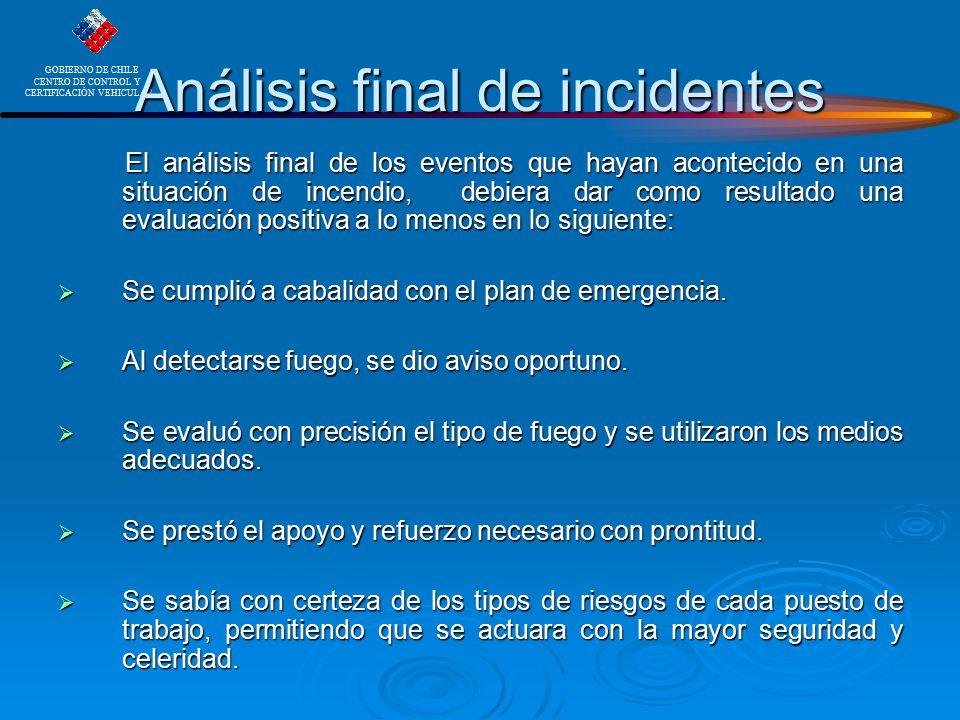 Análisis final de incidentes