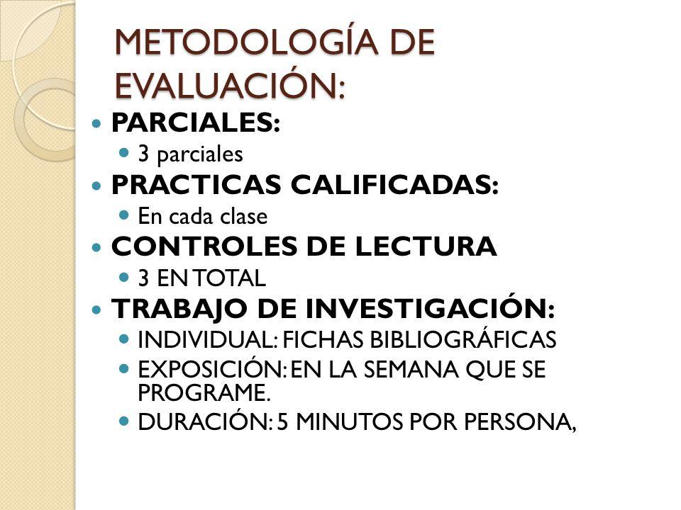 METODOLOGÍA DE EVALUACIÓN: