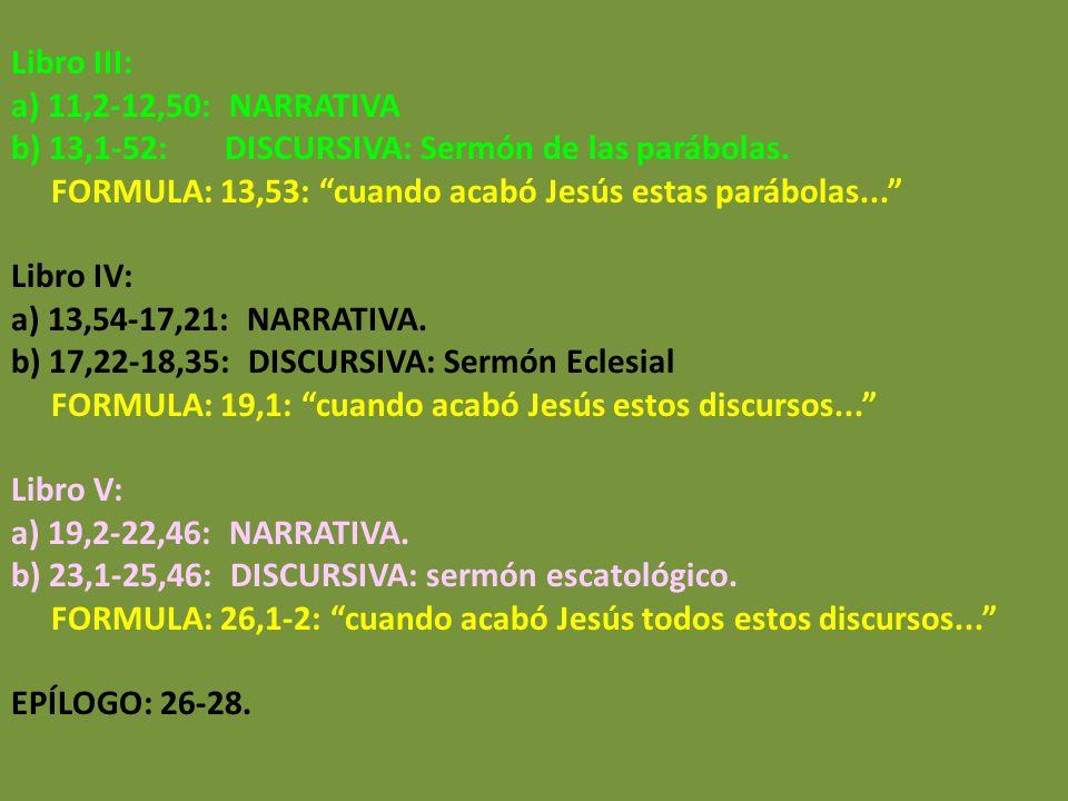 Libro III: a) 11,2-12,50: NARRATIVA. b) 13,1-52: DISCURSIVA: Sermón de las parábolas.
