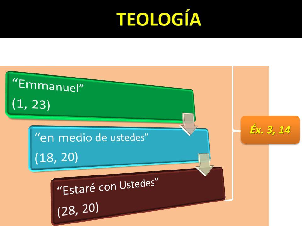 TEOLOGÍA Éx. 3, 14 (1, 23) Emmanuel (18, 20) en medio de ustedes