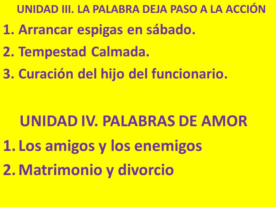UNIDAD IV. PALABRAS DE AMOR