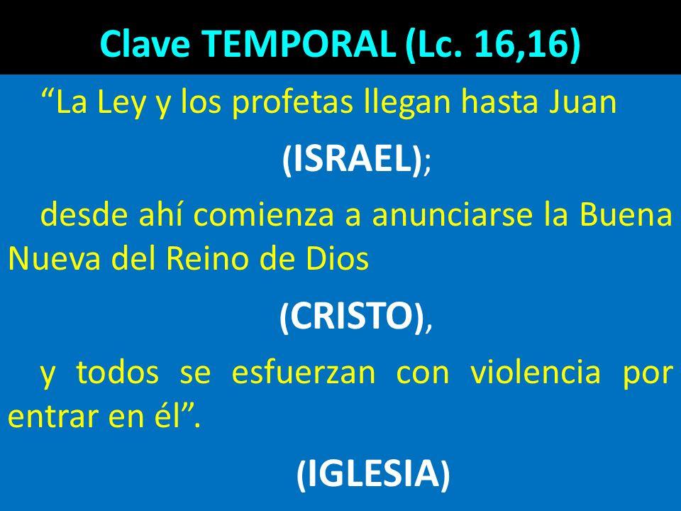 Clave TEMPORAL (Lc. 16,16) La Ley y los profetas llegan hasta Juan