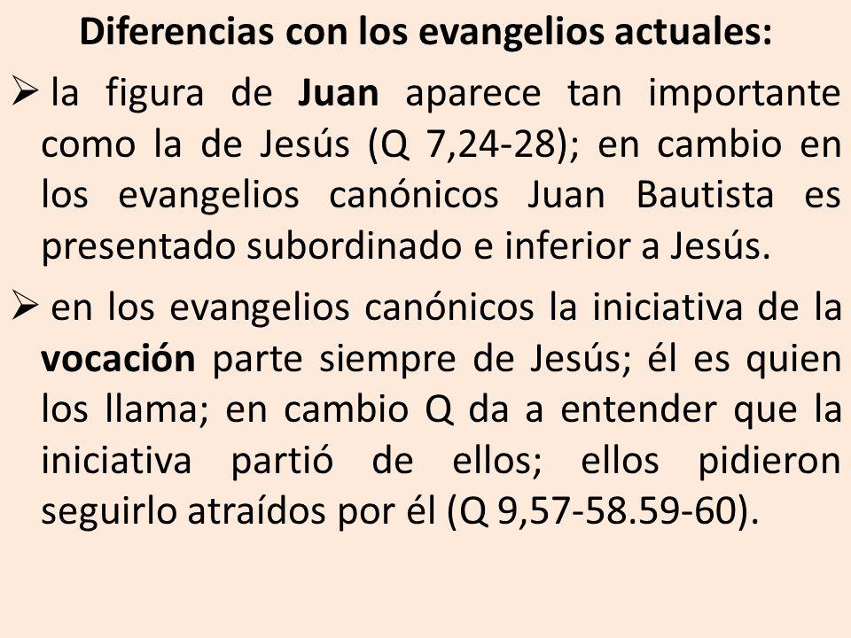Diferencias con los evangelios actuales:
