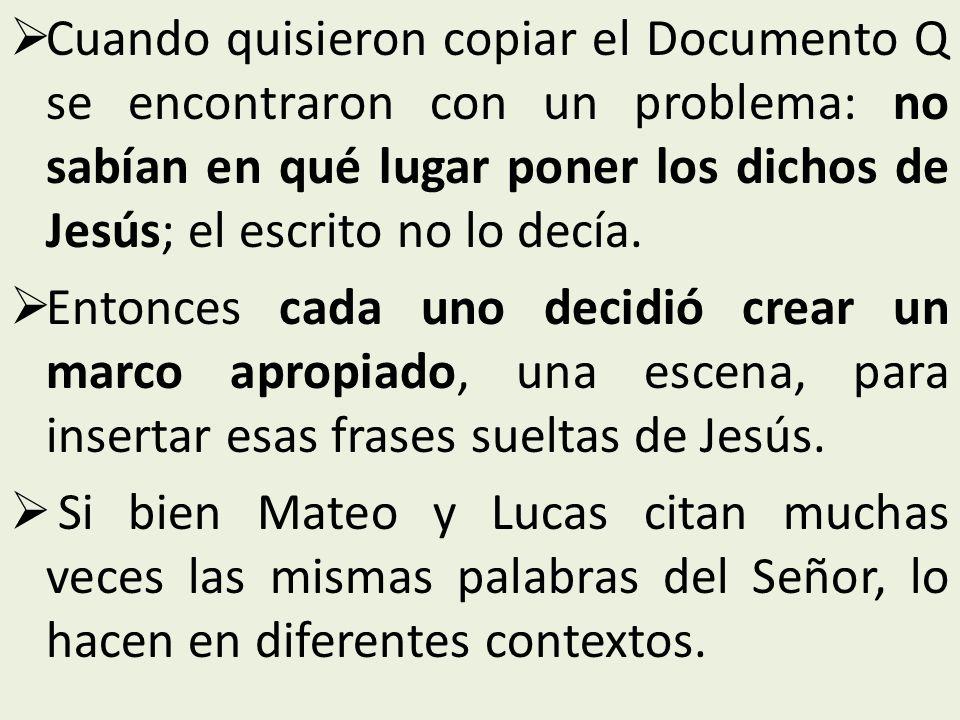 Cuando quisieron copiar el Documento Q se encontraron con un problema: no sabían en qué lugar poner los dichos de Jesús; el escrito no lo decía.