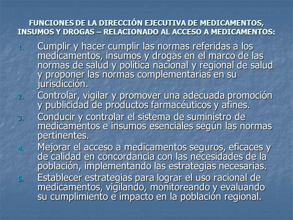 FUNCIONES DE LA DIRECCIÓN EJECUTIVA DE MEDICAMENTOS, INSUMOS Y DROGAS – RELACIONADO AL ACCESO A MEDICAMENTOS: