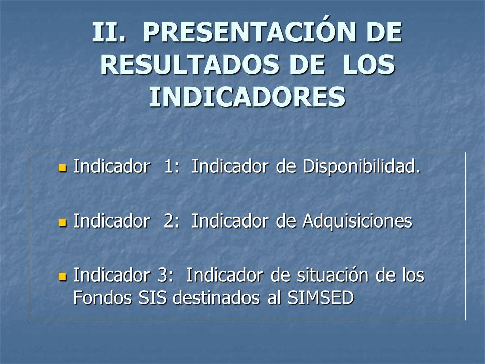 II. PRESENTACIÓN DE RESULTADOS DE LOS INDICADORES