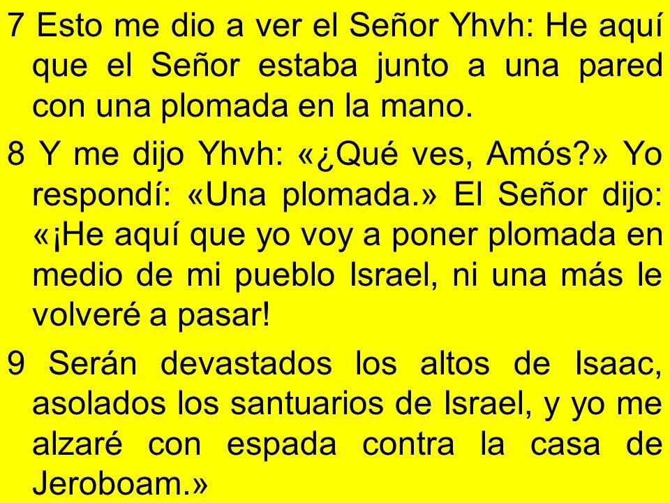 7 Esto me dio a ver el Señor Yhvh: He aquí que el Señor estaba junto a una pared con una plomada en la mano.
