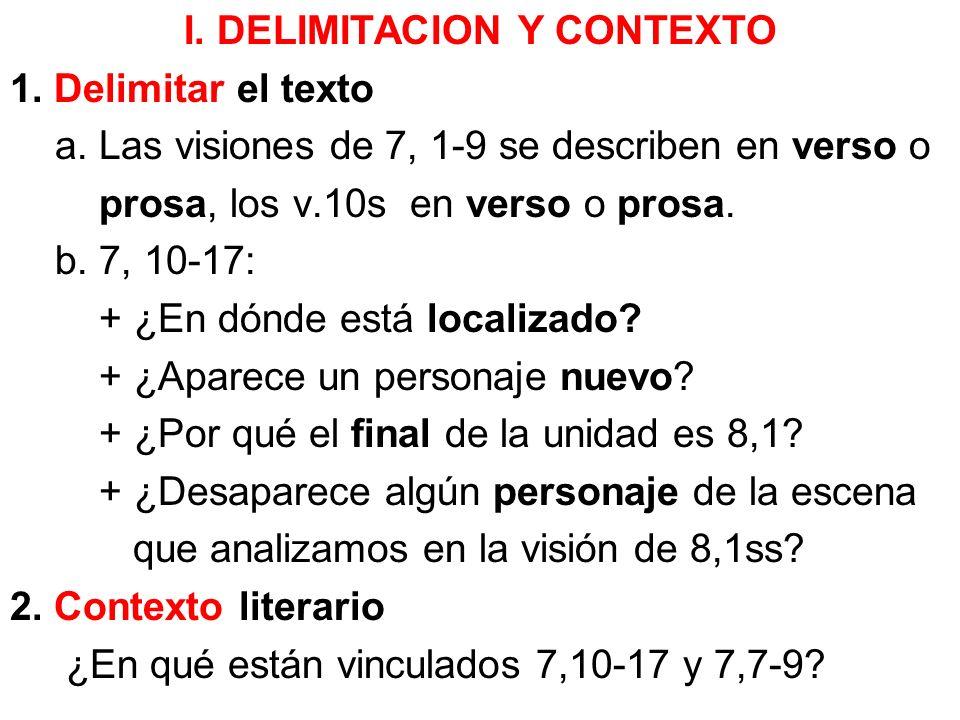 I. DELIMITACION Y CONTEXTO