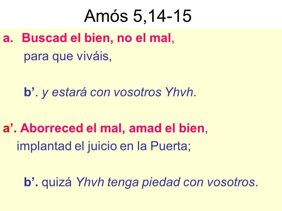 Amós 5,14-15 Buscad el bien, no el mal, para que viváis,