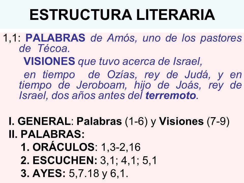 ESTRUCTURA LITERARIA 1,1: PALABRAS de Amós, uno de los pastores de Técoa. VISIONES que tuvo acerca de Israel,