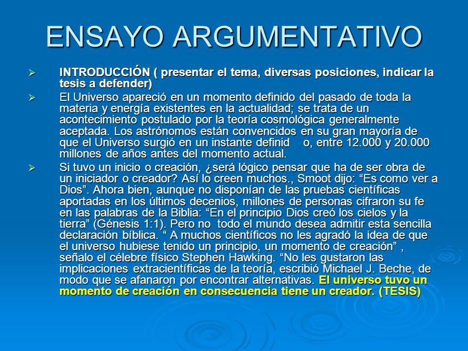 ENSAYO ARGUMENTATIVO INTRODUCCIÓN ( presentar el tema, diversas posiciones, indicar la tesis a defender)