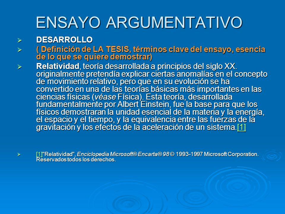 ENSAYO ARGUMENTATIVO DESARROLLO
