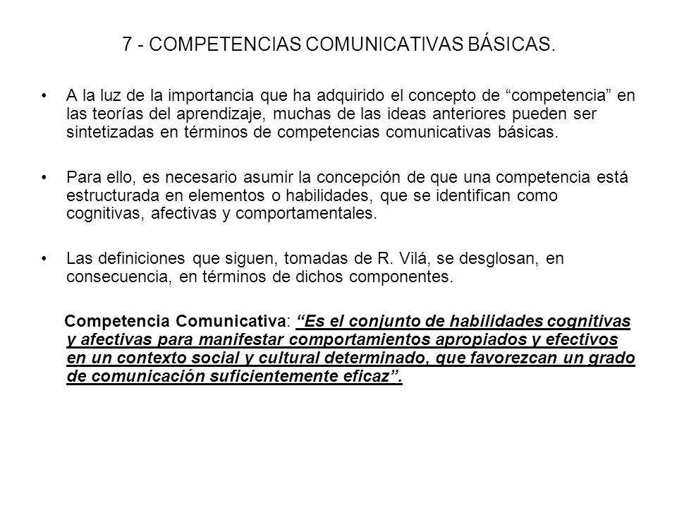 7 - COMPETENCIAS COMUNICATIVAS BÁSICAS.