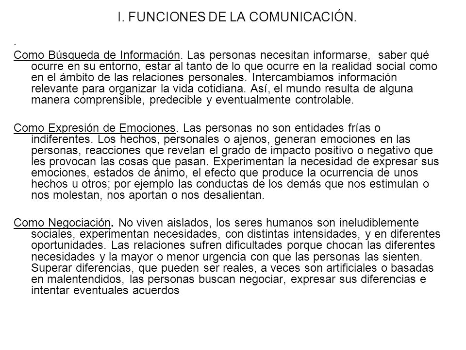 I. FUNCIONES DE LA COMUNICACIÓN.