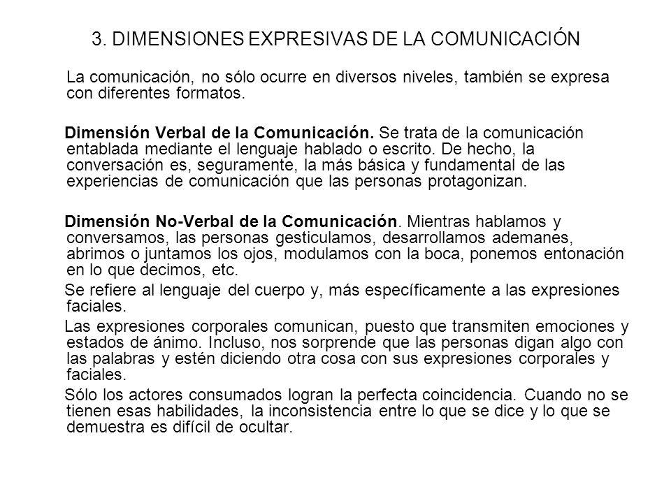 3. DIMENSIONES EXPRESIVAS DE LA COMUNICACIÓN