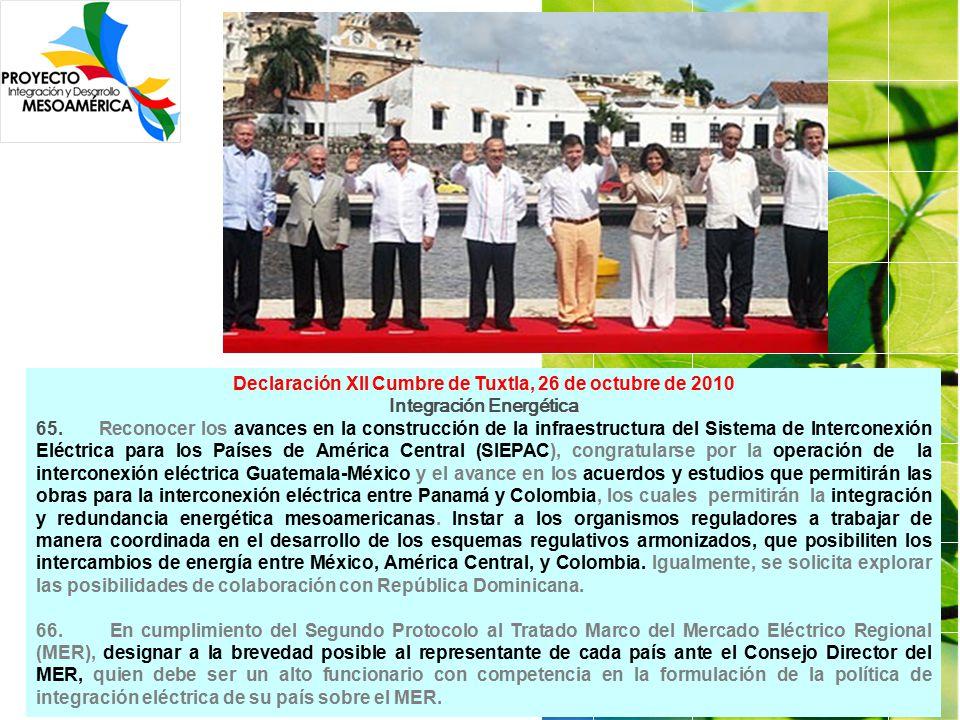 Declaración XII Cumbre de Tuxtla, 26 de octubre de 2010