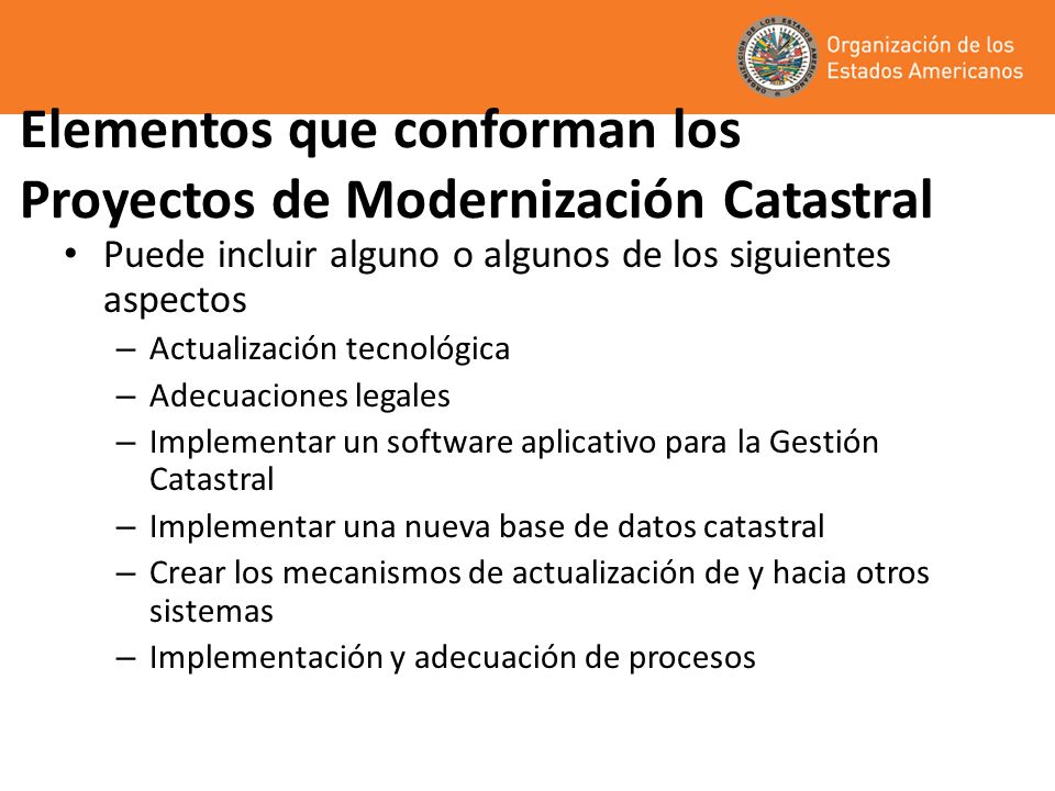 Elementos que conforman los Proyectos de Modernización Catastral