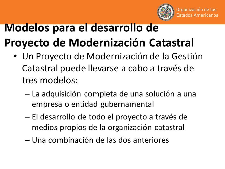 Modelos para el desarrollo de Proyecto de Modernización Catastral