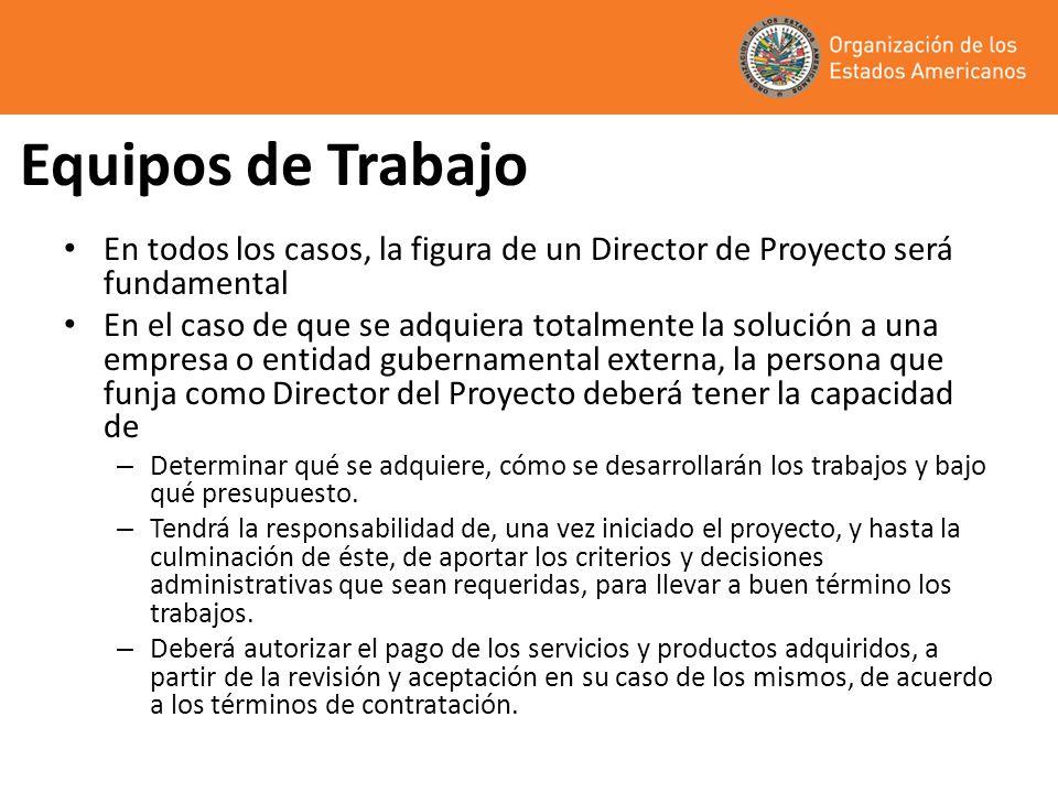 Equipos de Trabajo En todos los casos, la figura de un Director de Proyecto será fundamental.