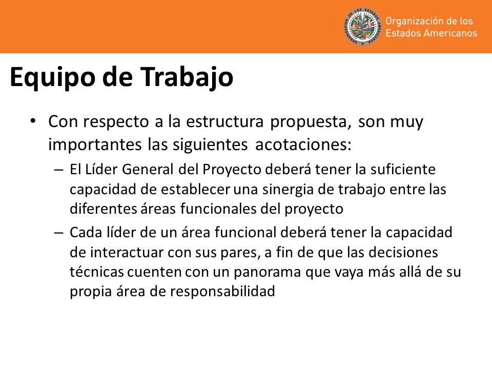 Equipo de Trabajo Con respecto a la estructura propuesta, son muy importantes las siguientes acotaciones: