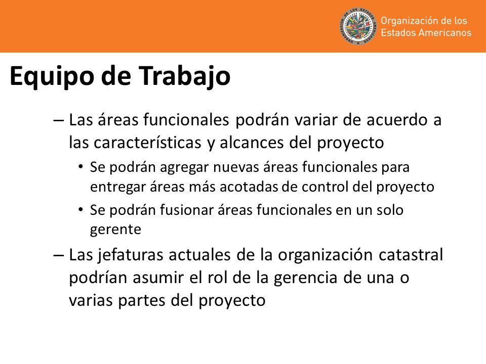 Equipo de Trabajo Las áreas funcionales podrán variar de acuerdo a las características y alcances del proyecto.