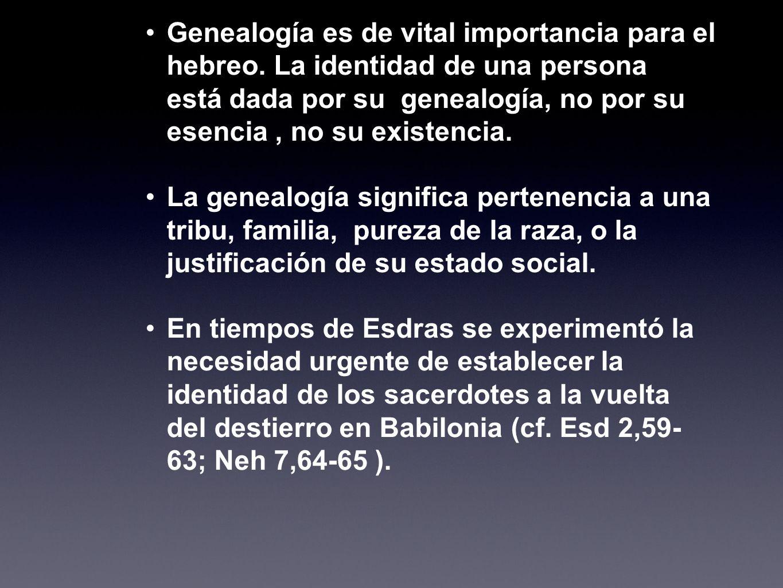 Genealogía es de vital importancia para el hebreo