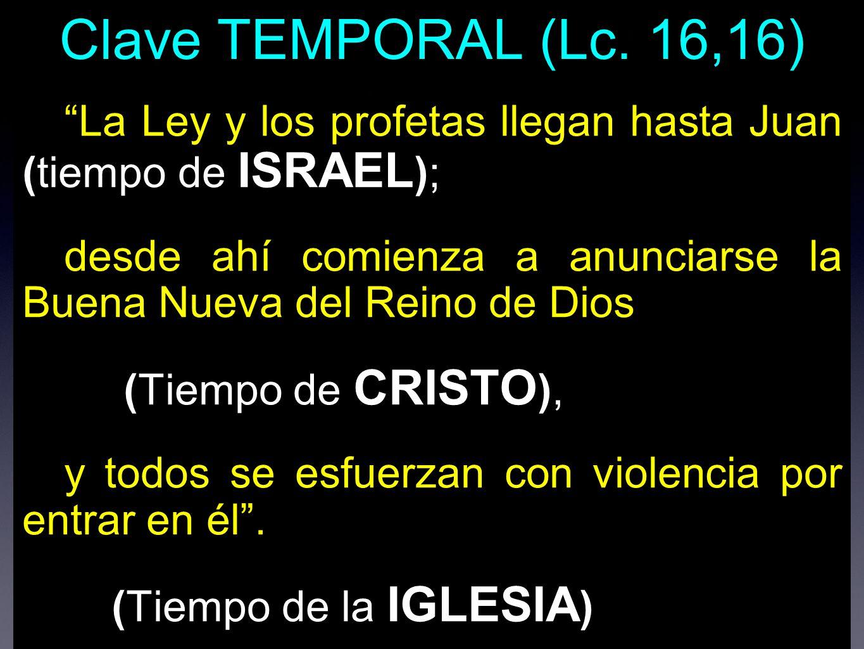 Clave TEMPORAL (Lc. 16,16) La Ley y los profetas llegan hasta Juan (tiempo de ISRAEL);